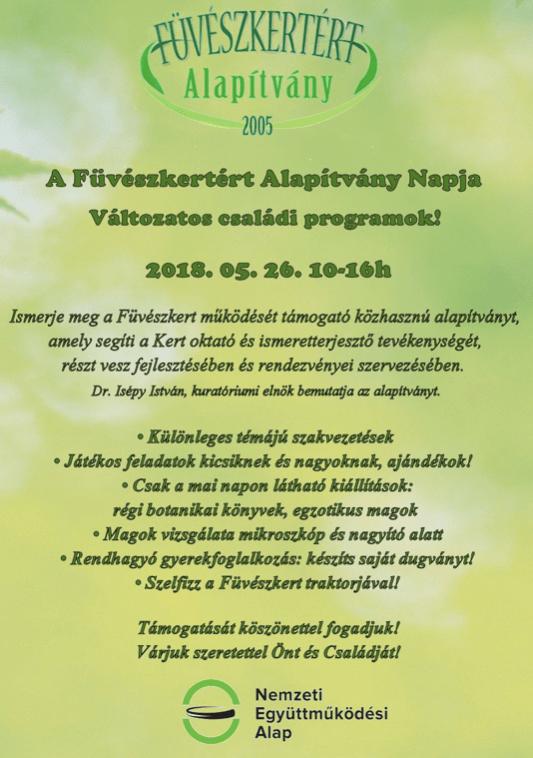 Füvészkertért Alapítvány Napja